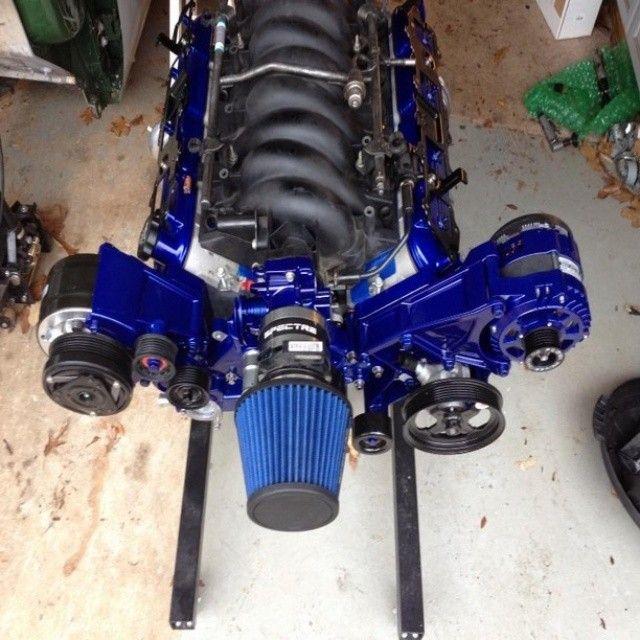 custom painted blue black grey ls engine Lsx   engine ...