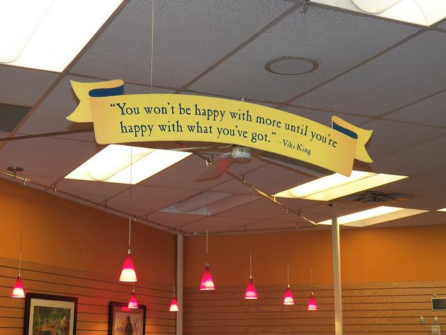 Celestial Seasonings ~ quotation hanging from ceiling