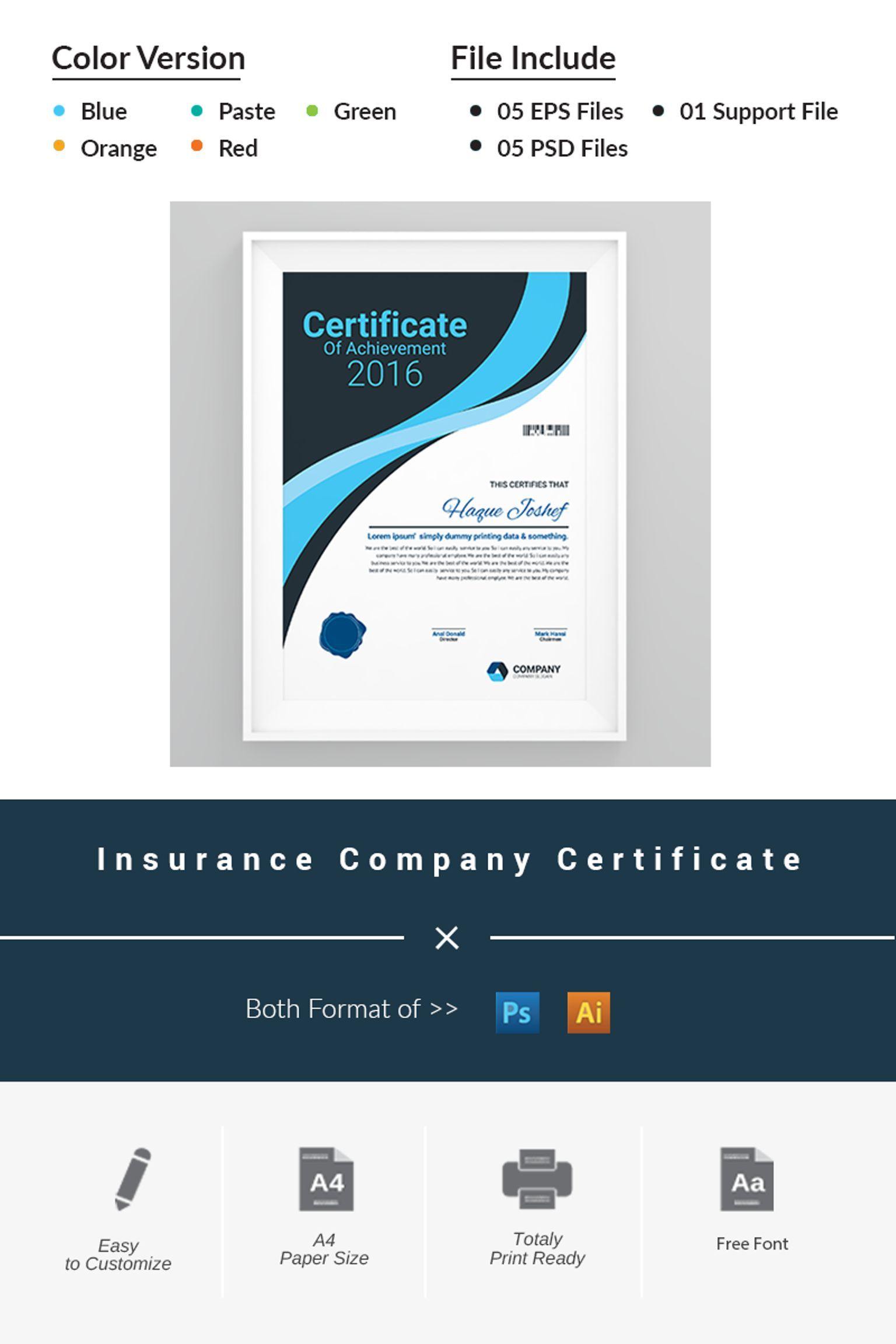 Insurance Company Certificate Template 66464 Certificate