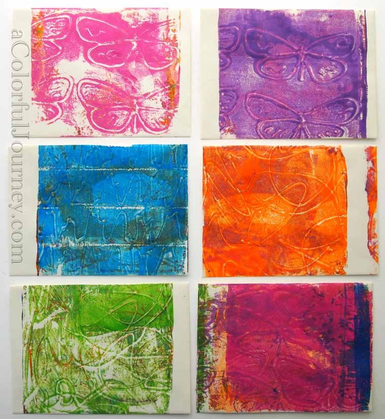 October's Colorful Gelli Print Party - A Colorful Journey