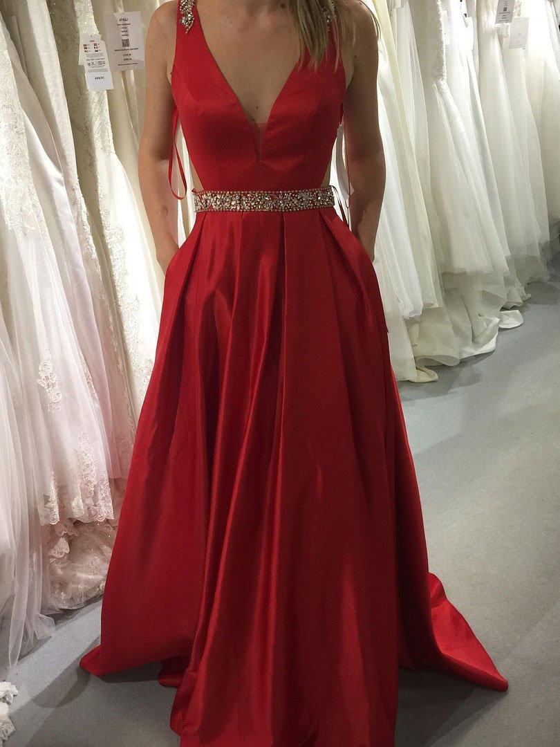 Red A-line V-neck Satin Prom Dresses 58588a0c8