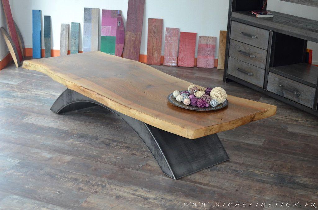 Table Basse Industrielle Style Industriel Micheli Design - Table pied metal plateau chene pour idees de deco de cuisine