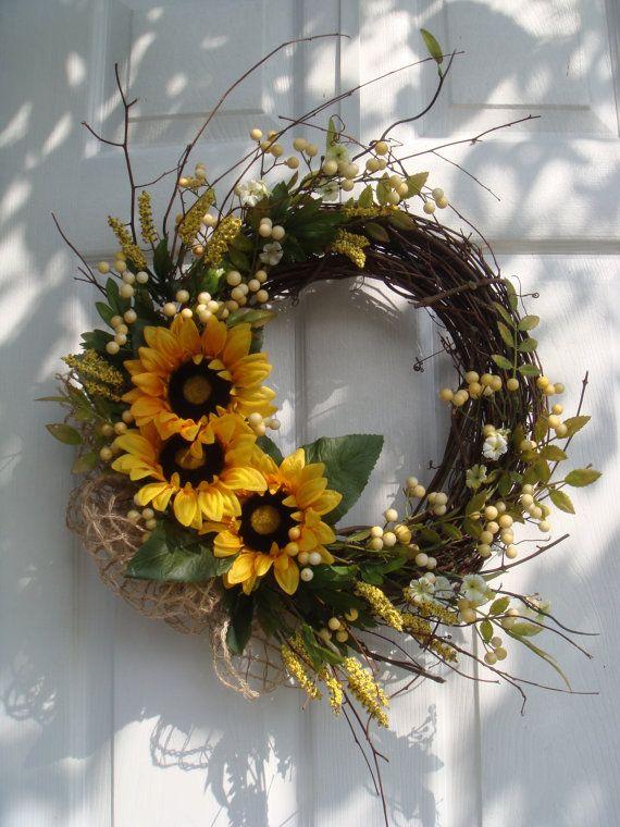 Spring Wreath Mothers Day Wreath Front Door Wreath Sunflower