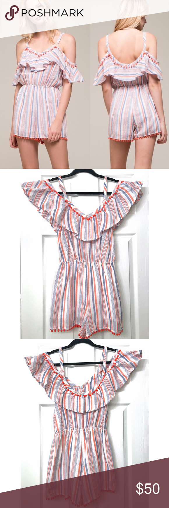 "Striped Pom Pom Off-Shoulder Romper EUC, worn once. Comes from a smoke-free, pet-free home. Inseam is 2"" & armpit to bottom is 20"".  It IS lined as you can see in the pictures.   Looks like Urban Outfitters, Express, or Forever 21/H&M.  Perfect for a beach vacation, honeymoon, night out, you name it! Moon River Pants Jumpsuits & Rompers #beachhoneymoonclothes"