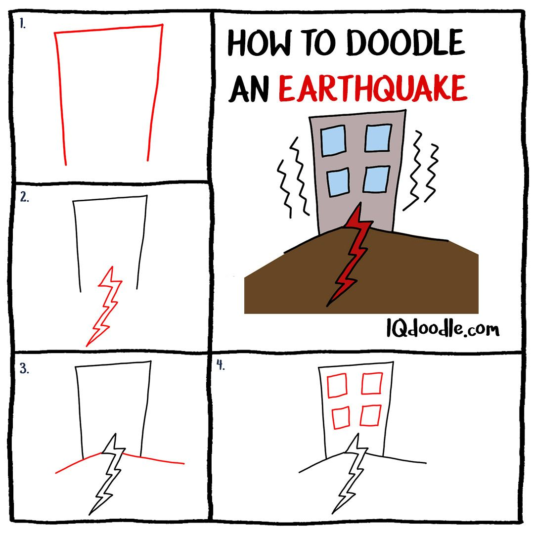 How To Doodle An Earthquake Iq Doodle School Doodles Earthquake Doodle Drawings