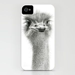 Cute Ostrich Expression SK055 iPhone Case by S-Schukina - $35.00