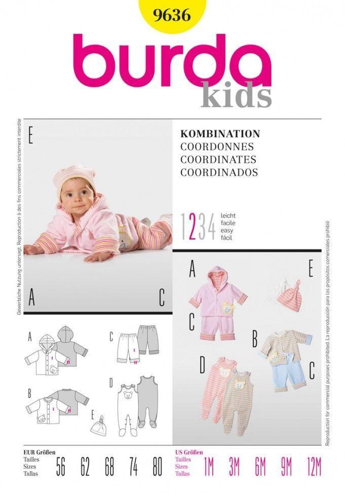 Free UK P&P - Burda Baby Easy Sewing Pattern 9636 Jackets, Pants ...