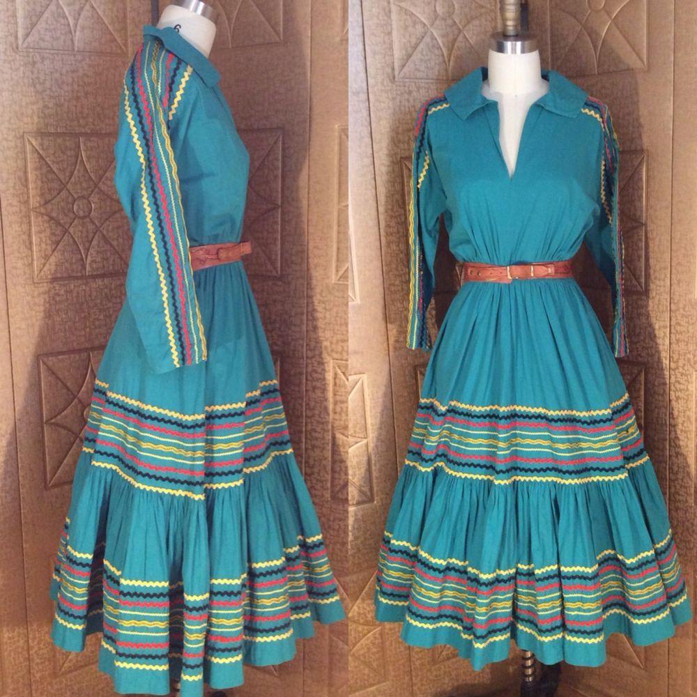Vintage 50s Rockabilly Jade Green Gold Yellow C Cotton Squaw Patio Dress L
