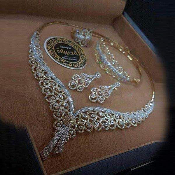 Floral Design Golden Jewelry Set With Sones Gold Jewelry Fashion Gold Necklace Designs Bridal Jewelry Collection