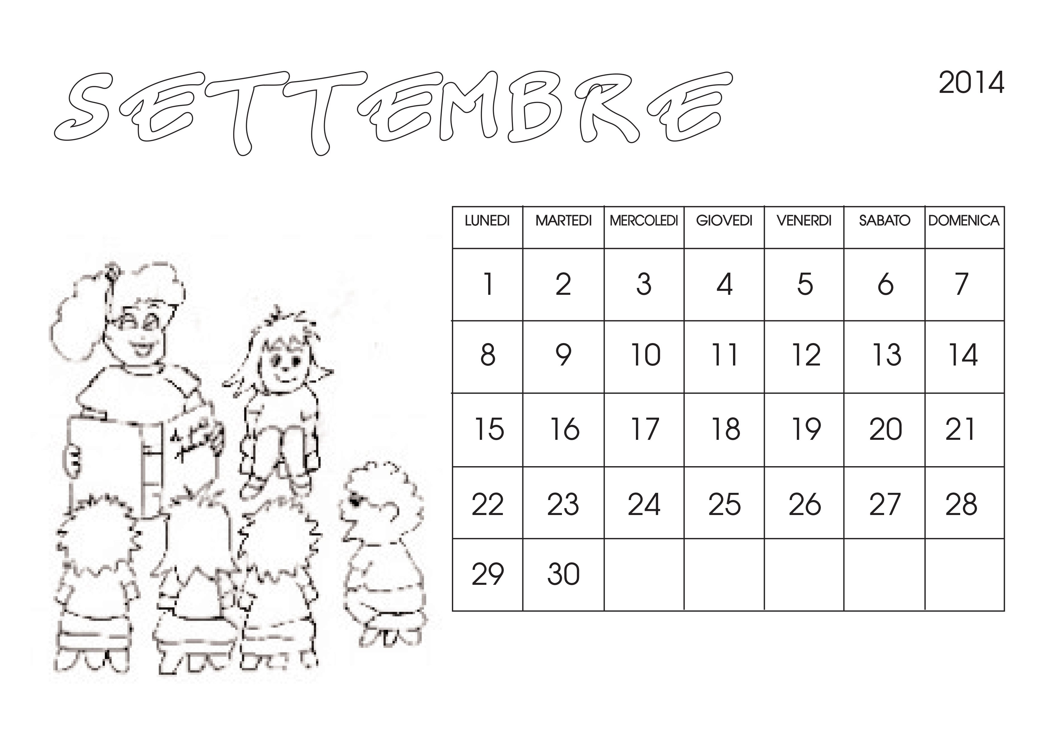 Calendario 2014 Da Colorare Cose Per Crescere Calendario Bambini Da Colorare Bambini Calendario