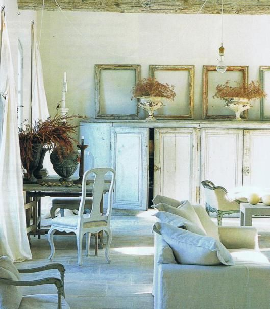 Living area in Provence villa with French flea market finds as accessories.