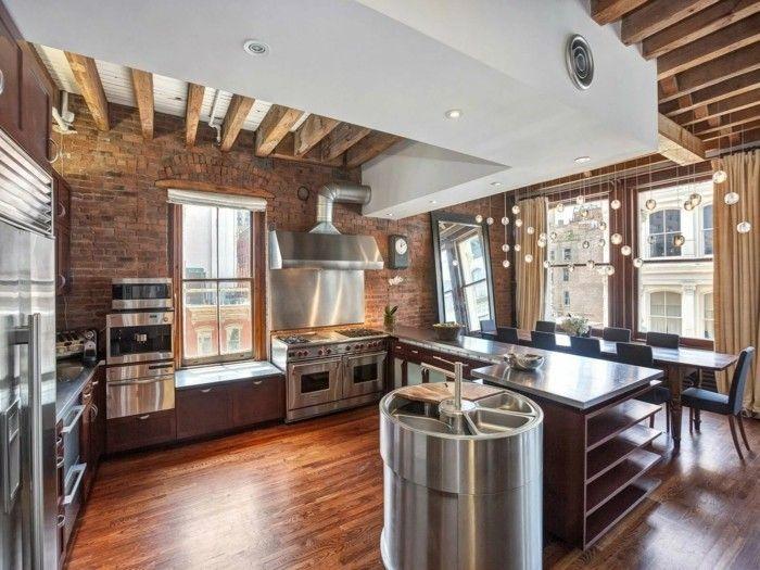 Wohnideen Küche Backsteinwand Und Hölzerner Boden