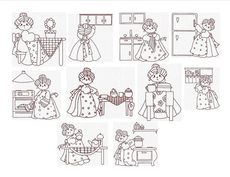 Vintage Redwork Machine Embroidery Designs Redwork Grannies In The Kitchen Set Of 10 Size 4 X