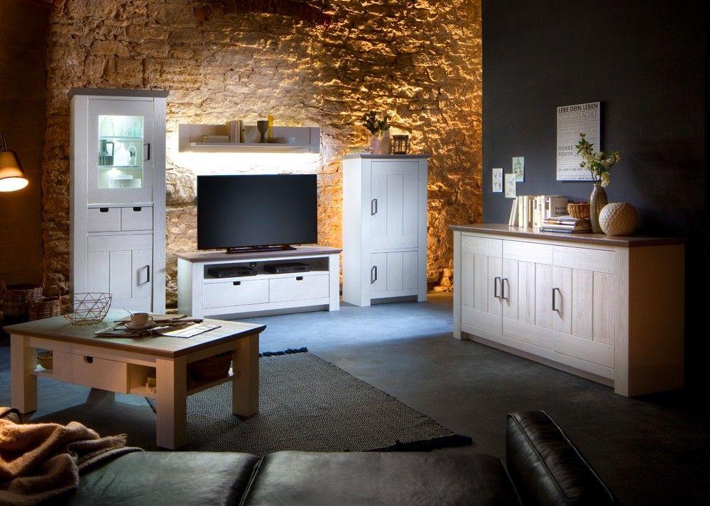 Landhaus Wohnzimmer Einrichtung La Palma Massiv Holz Kiefer Weiß