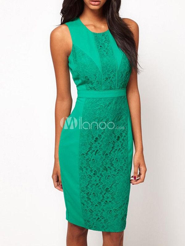 Green Jewel Neck Sleeveless Lace Bodycon Dress For Woman