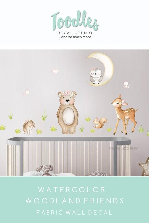 cute woodland wall decal for girls nursery | forest friends reusable