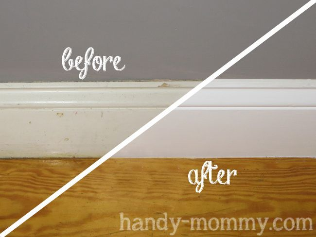 Handy mommy making old baseboards look pretty the caulk - Best caulk for exterior painting ...