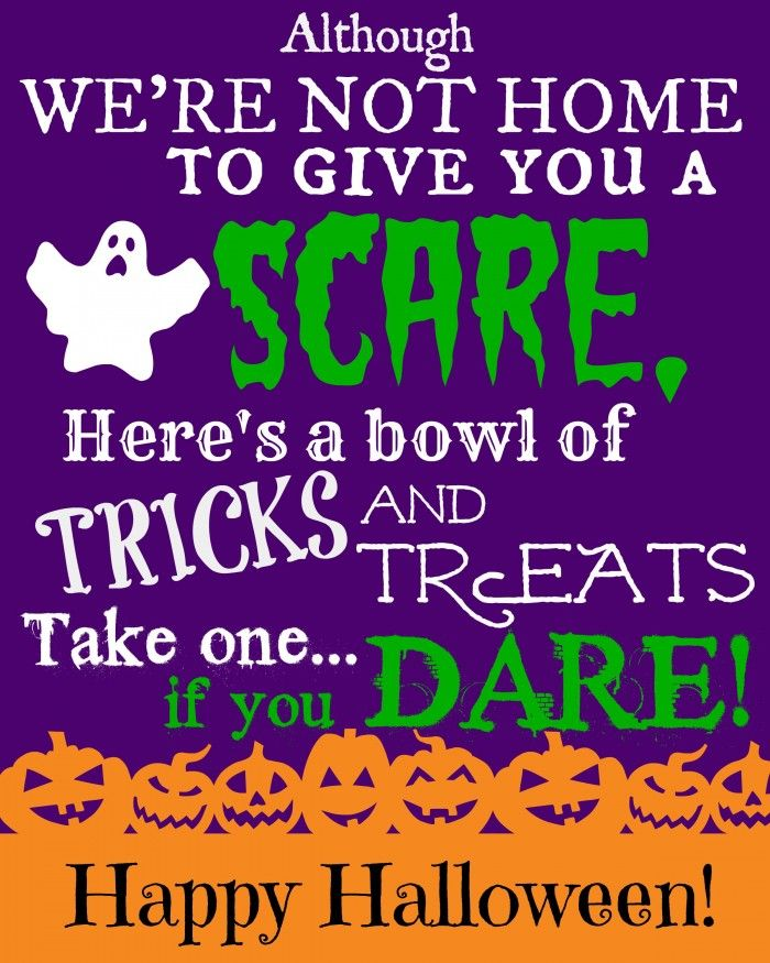 Free Printable Sign with Halloween Poem for Trick or