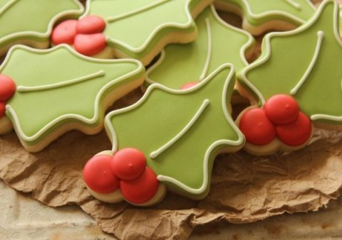 Christmas Holly Leaf Decorated Sugar Cookies Royal Icing Green