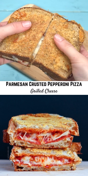 Grilled cheese like you've never had it! This Parmesan crusted pepperoni pizza grilled cheese recipe is absolutely delicious. This pizza grilled cheese sandwich is stuffed with pepperoni, pizza sauce and mozzarella cheese. And if that weren't enough, it has a crispy Parmesan cheese crust that takes it right over the top!