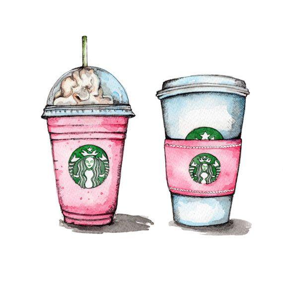 Watercolor Coffee Art Instant Download Starbucks Drawing