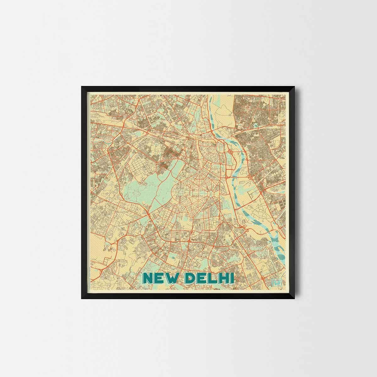New Delhi City Prints - City Art Posters and Map Prints | Art ...