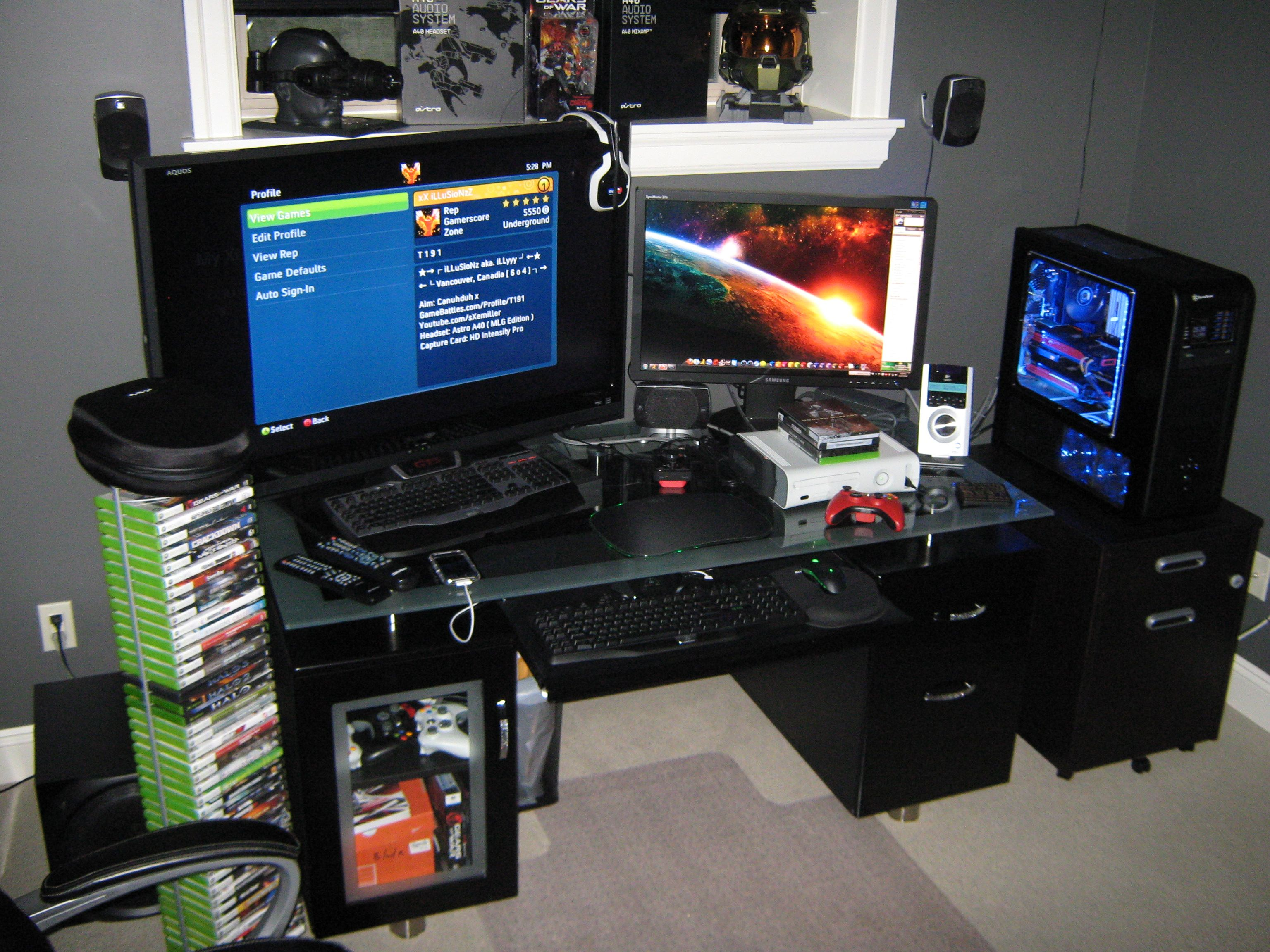 gaming setups gaming setup gaming set ups pinterest. Black Bedroom Furniture Sets. Home Design Ideas