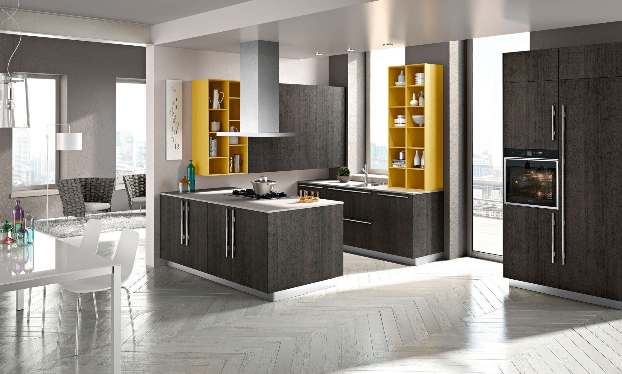 Kitchen Awesome White Grey Stainless Unique Design Modern Open