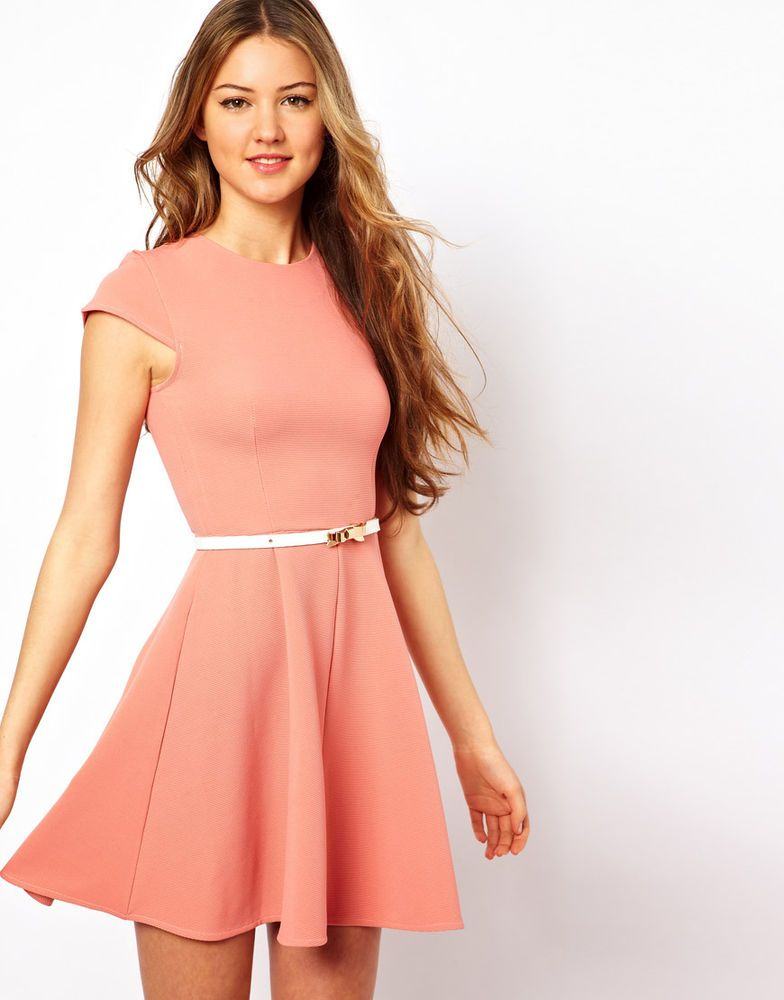 ASOS Club L Skater Dress With White Bow Belt  UK Size:12   RRP £39.00