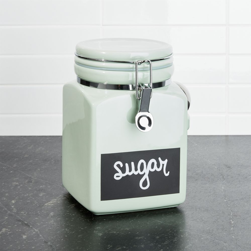 Medium Pistachio Clamp Canister with Chalkboard - Crate and Barrel ...