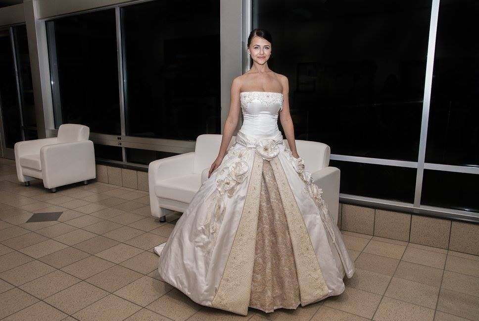 A custom bridal gown with a detachable skirt bridal