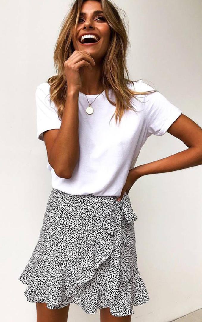 White Leopard Bowknot Tulip Skirt