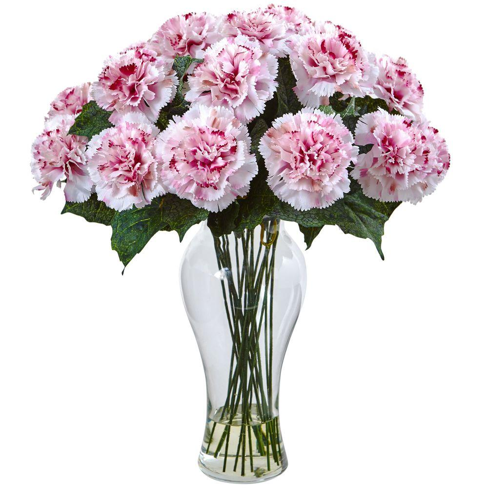 Nearly Natural Magenta Carnation Arrangement With Vase 1403 Wm The Home Depot Carnation Flower Silk Flower Arrangements Carnations