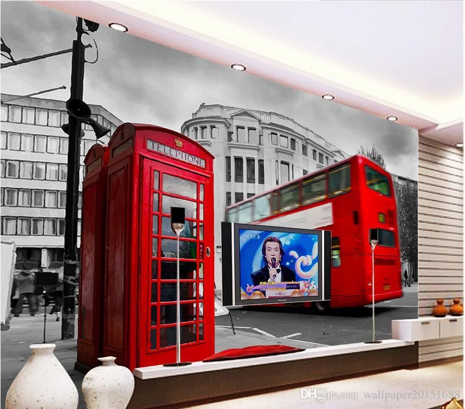 British London Bus Classic Car Building Mural 3d Wallpaper
