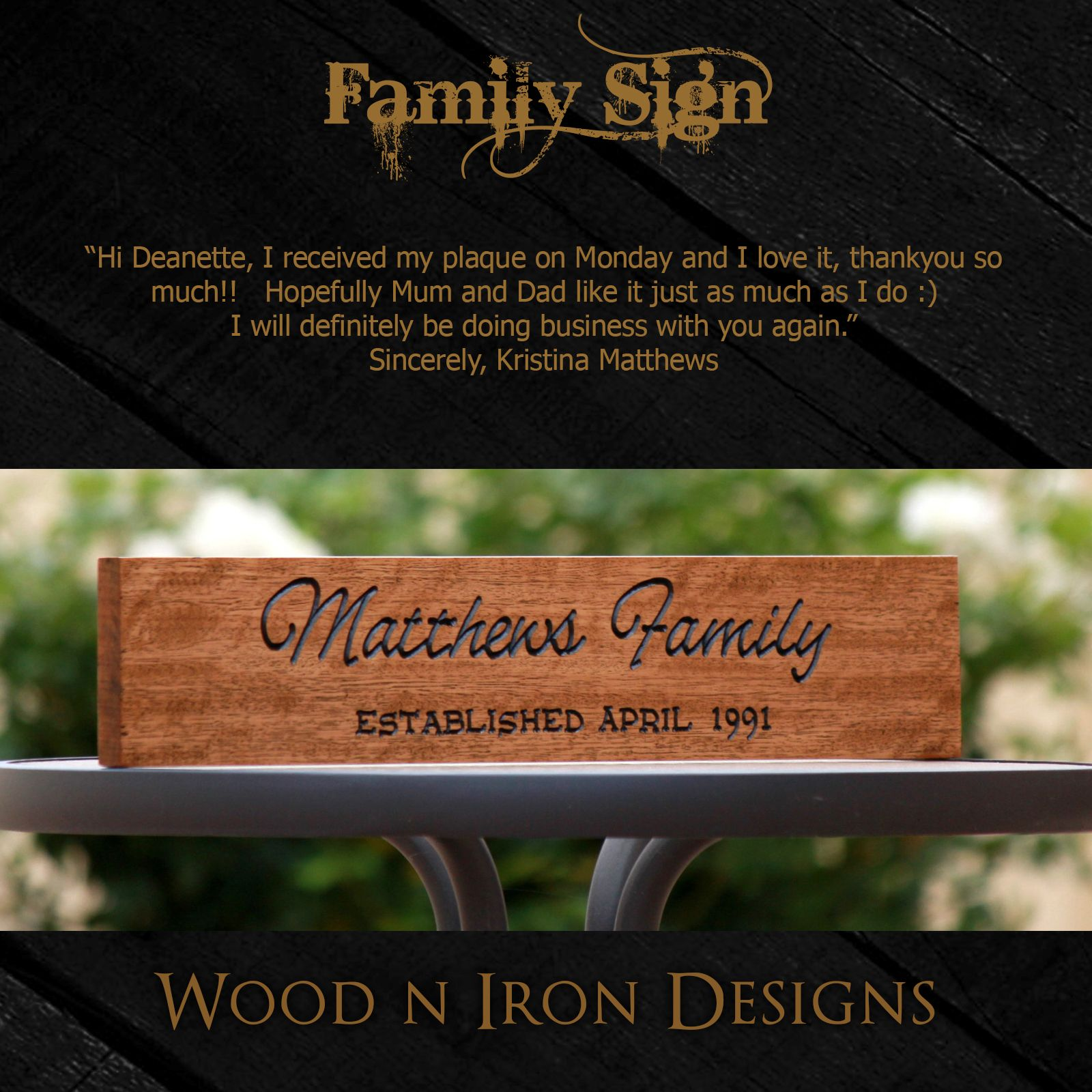 Personalised Tasmanian Oak Family Sign For A Wedding Gift