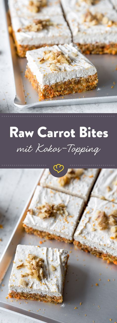 raw carrot bites mit kokos topping rezept rezepte pinterest kuchen karotten und backen. Black Bedroom Furniture Sets. Home Design Ideas