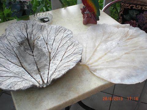 Beton giessen - DIY - Vogeltränke - Schale - Rhabarber Blatt aus - betonplatten selber machen