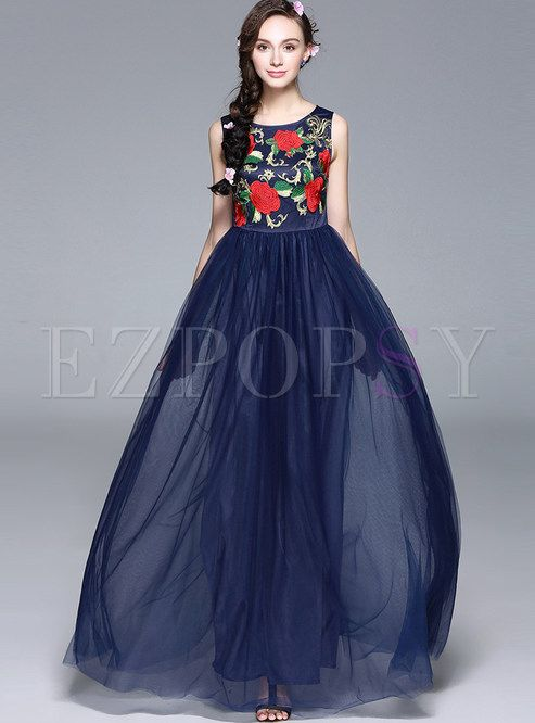 ae1d6d3e4e0 Shop for high quality Elegant Sleeveless Embroidery Voile Patchwork Maxi  Dress online at cheap prices and discover fashion at Ezpopsy.com