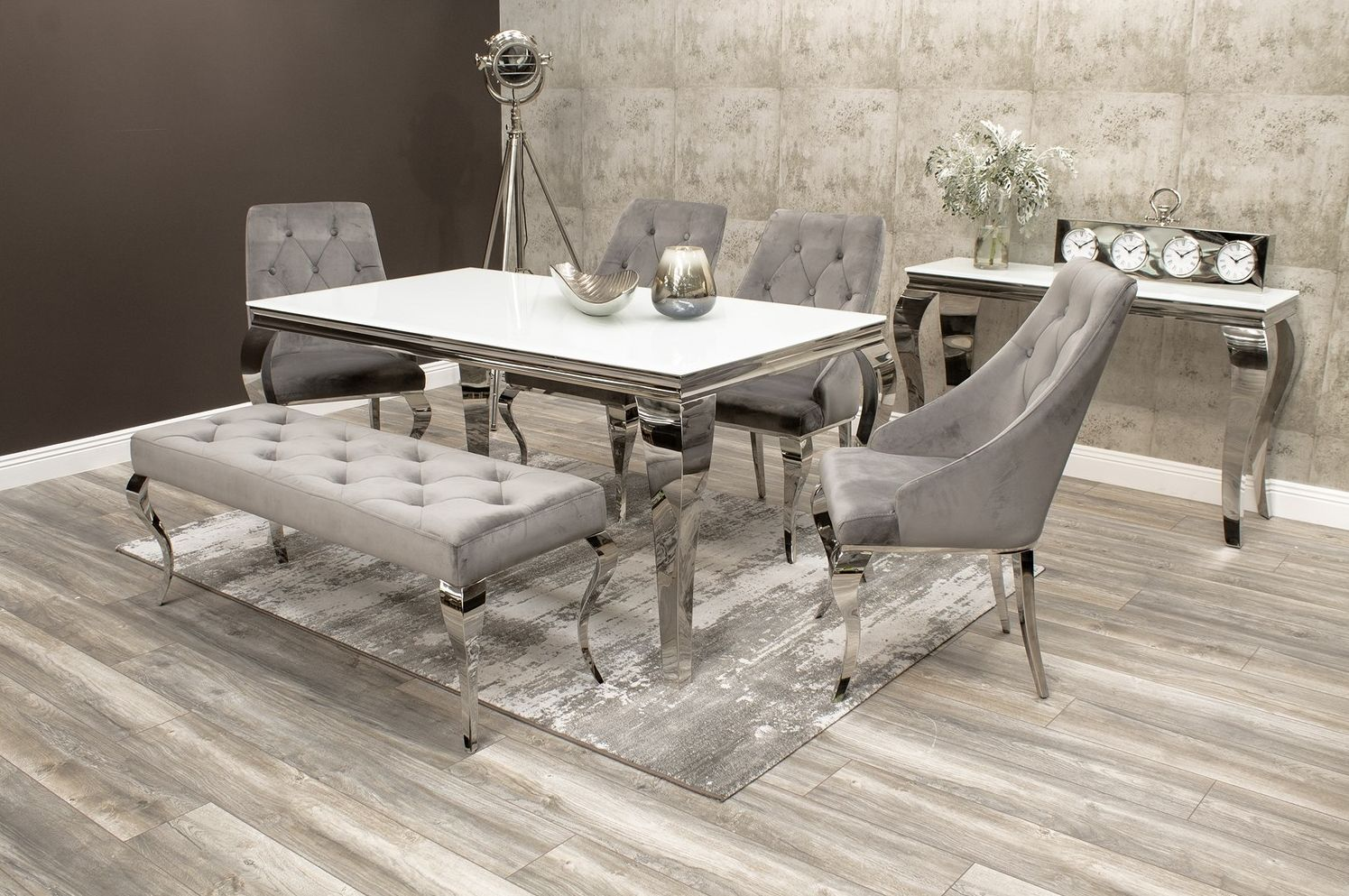 Louis Mirrored Dining Table With 4 Grey Chairs And Bench In Velvet