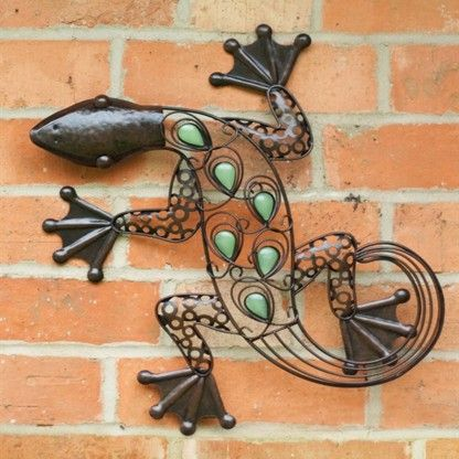 glow lizard wall art in 2020  garden wall art metal wall