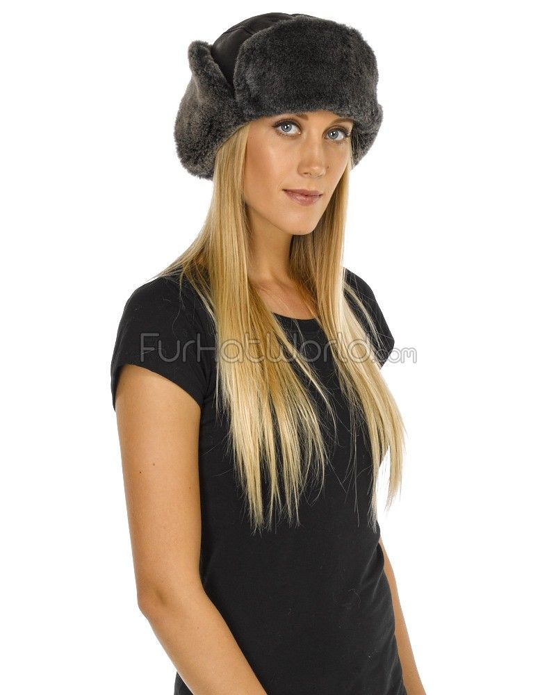 9366a303ebf Lady Concorde Napa Leather Shearling Sheepskin Hat in Black  FurHatWorld.com