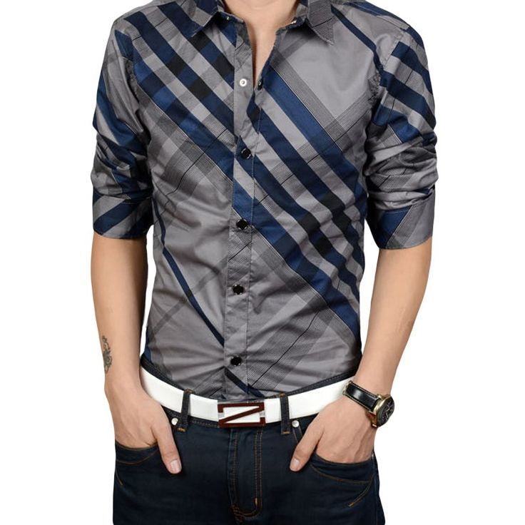 Wholesale New Fashion men's slim fit casual striped shirts ...