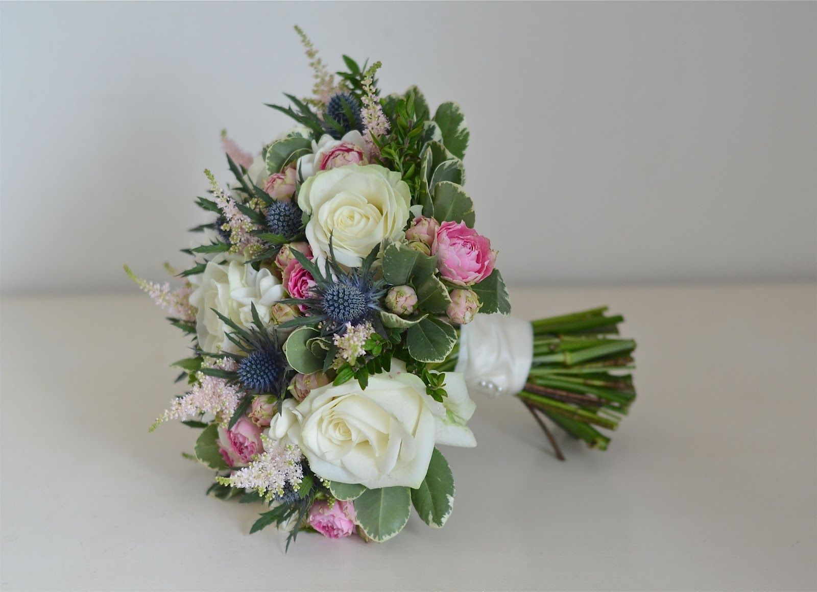 Rose Thistle Bouquet Pink Blue Ivory Jpg 1600