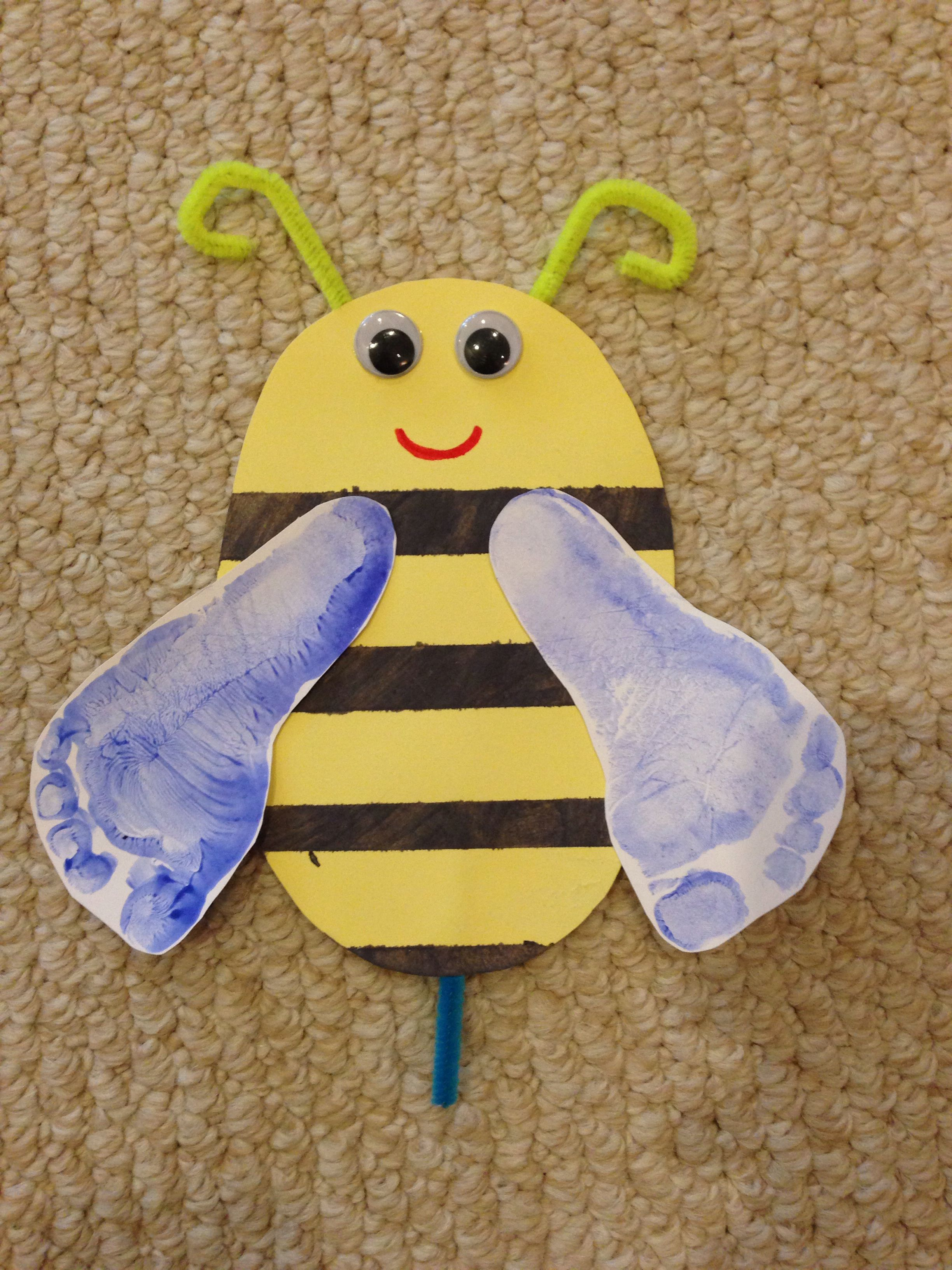 Bumble bee i used yellow paper masking tape and black paint to
