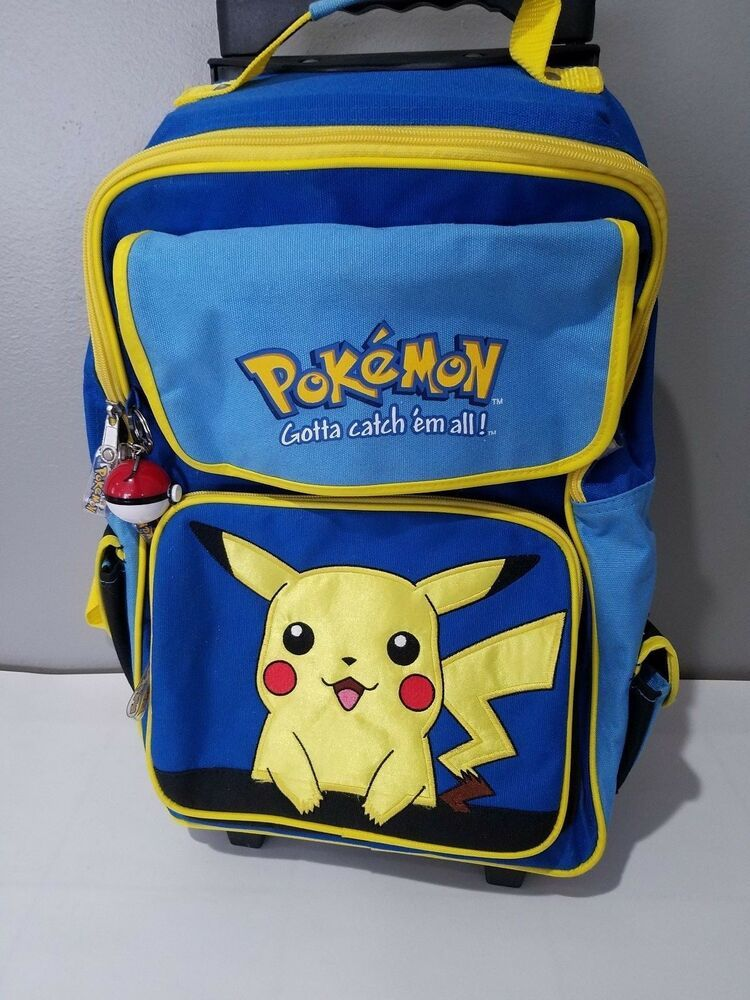 """BRAND NEW Licensed Product Pokemon Pikachu Large 16/"""" inches Rolling Backpack"""