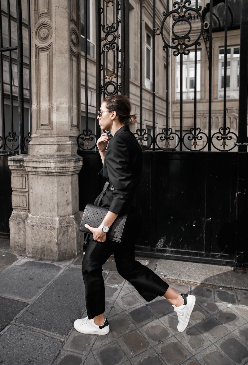 c16c43e593b all black Paris fashion week street style Isabel Marant sneakers cropped  kick…