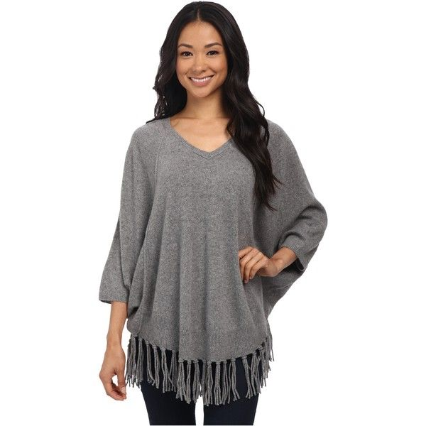 Velvet by Graham & Spencer Trinity03 Fringe Cashmere Sweater Women's... ($175) ❤ liked on Polyvore featuring tops, sweaters, grey, grey cashmere sweater, grey pullover sweater, cashmere sweater, v-neck pullover sweater y cashmere v-neck sweater