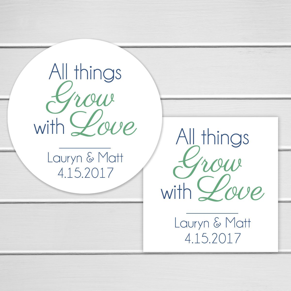Wedding Sticker, Wedding Favor Stickers, All Things Grow With Love ...