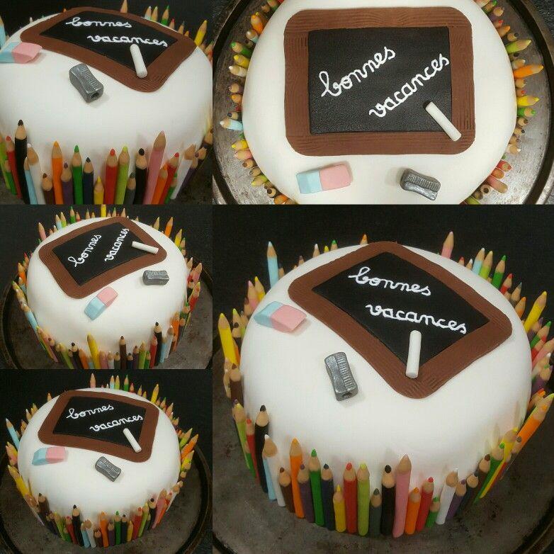 Gâteau rainbow cake thème école pour fêter la fin de l\u0027année avec mes élèves