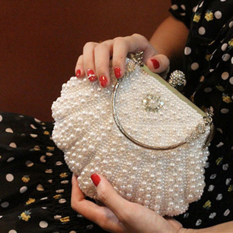 This Lovely Vintage Style Clutch Is Adorned With Pearls And Rhinestones Classic Clamshell Shape With Top Hasp Opening Also In Clutch Bag Bridal Bag Pearl Bag